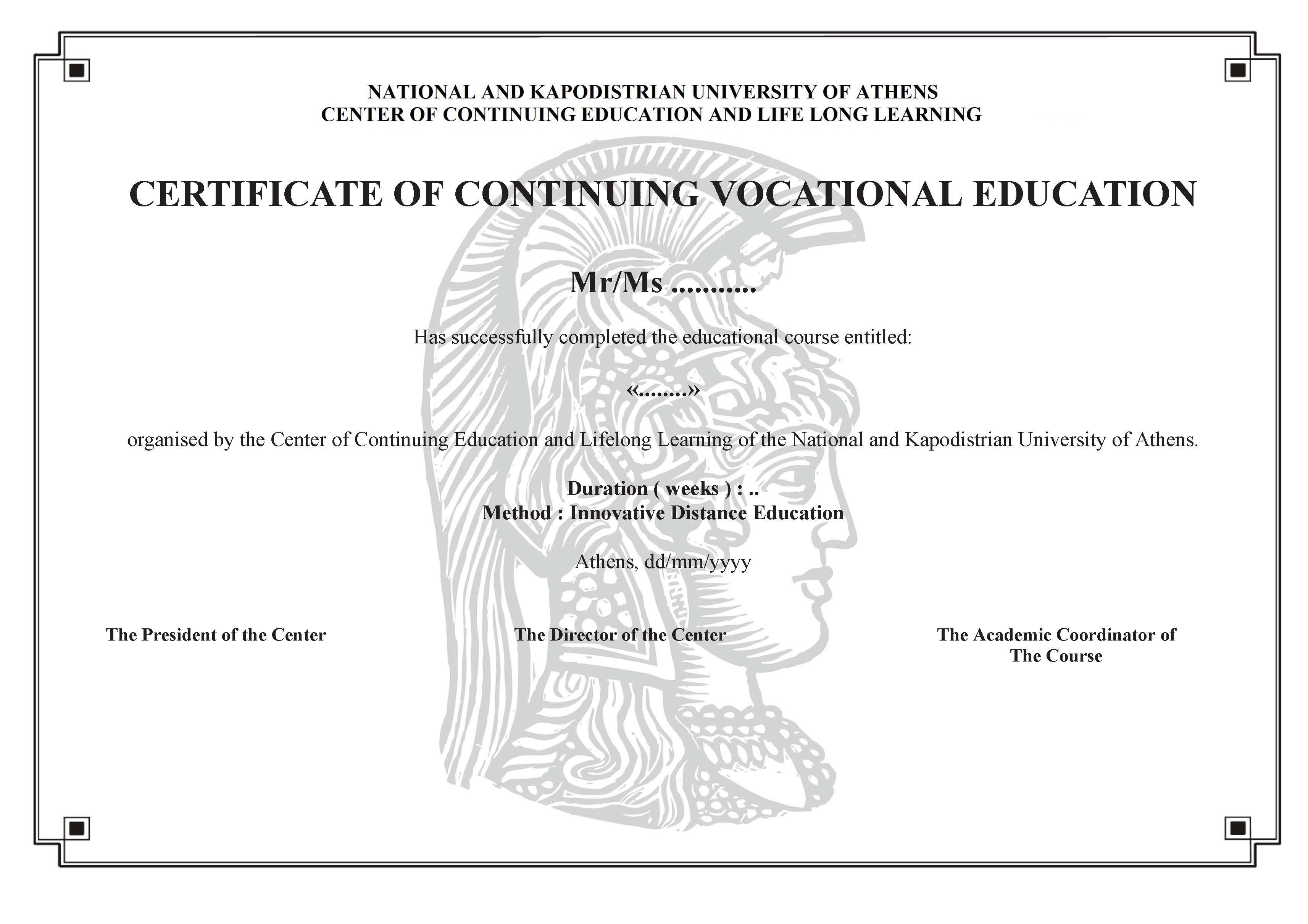 Certificate Of Continuing Vocational Education E Learning